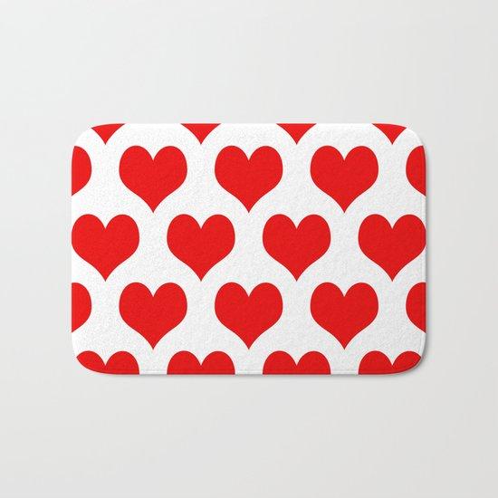Holidaze Love Hearts Red Bath Mat