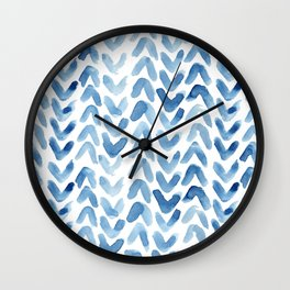 Blue Chevron Watercolour Wall Clock