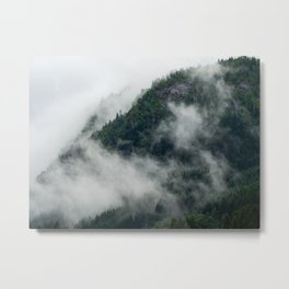 Pine tree forest in the clouds in moody Norway | Travel photography Scandinavia Metal Print