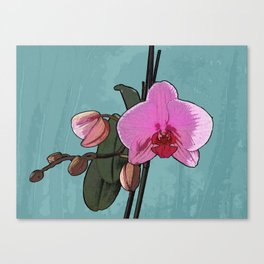 Pink Orchids floral painting Canvas Print
