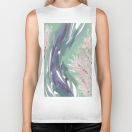 Deep Ocean River Abstract In Soft Green and Purple Biker Tank