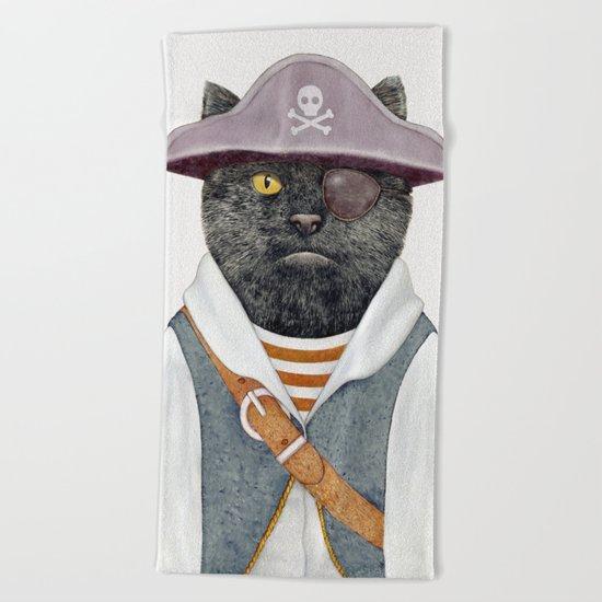Pirate Cat Beach Towel
