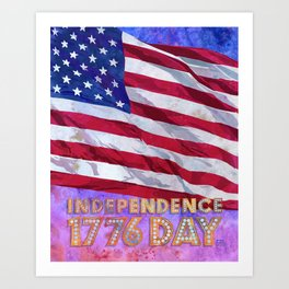 Fourth of July American Flag Independence Day 1776 Art Print