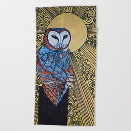 Barn Owl Art Nouveau Panel in yellow Beach Towel