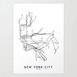 New York City White Subway Map Art Print