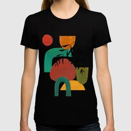 'Afternoon At The Park' Abstract Geometric Shapes Paper Collage Colorful Arrangement Mid Century Modern Cool Funky Style by Ejaaz Haniff T-shirt