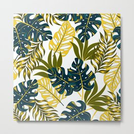 Botanical seamless tropical pattern with bright plants and leaves on a delicate background. Tropic leaves in bright colors. Hawaiian style. Colorful stylish floral. Metal Print