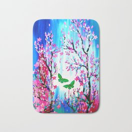 Butterflies and Cherry Blossom Bath Mat