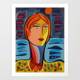 Woman at the window on the French Riviera Art Print