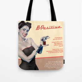 """B-Positive"" - The Playful Pinup - Vampire Parody Pinup Girl Ad by Maxwell H. Johnson Tote Bag"