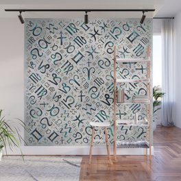Zodiac glyphs Abalone shell and gold on pearl Wall Mural