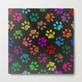 Colorful vibrant colored doodle paw prints. Seamless pattern for textile design. Paw prints background Metal Print
