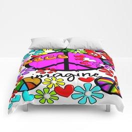 Imagine Peace Sybols Retro Style Comforters