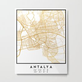 ANTALYA TURKEY CITY STREET MAP ART Metal Print