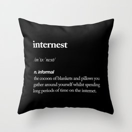 Internest black and white modern typography quote bedroom poster wall art home decor Throw Pillow