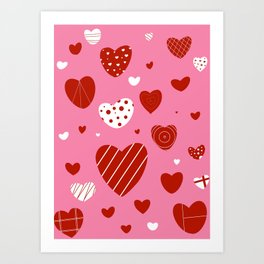 Red and White Hearts Art Print