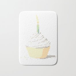 Happy Birthday Cupcake in a Real Cross Stitch Pattern - Color Coded Chart - Wearable Fiber Art Patte Bath Mat