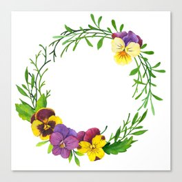 Watercolor pansies wreath Canvas Print