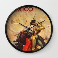 mexico Wall Clocks featuring MEXICO by Kathleen Casey