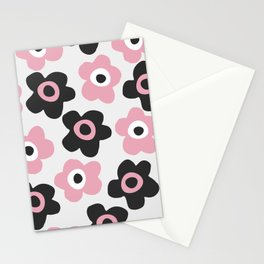 Black and pink flowers Stationery Cards