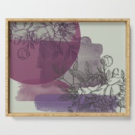 Purple and Gray Floral Serving Tray