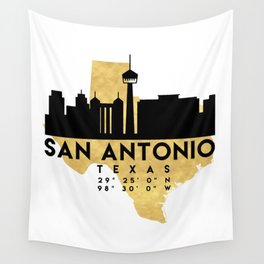 SAN ANTONIO TEXAS SILHOUETTE SKYLINE MAP ART Wall Tapestry