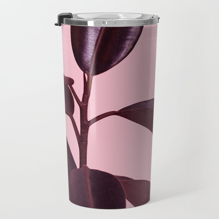 Burgundy Rubber Plant Travel Mug