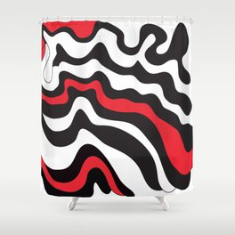 Abstract Modern Graphic Red and Black Shower Curtain
