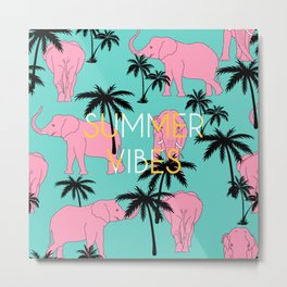 Summer vibes written elephant animal palm tree pattern Metal Print