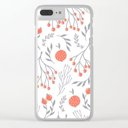Red Berry Floral Clear iPhone Case
