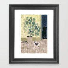 Pug Puppy Playing Framed Art Print