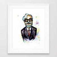 miyazaki Framed Art Prints featuring Hayao Miyazaki by Grant Hunter