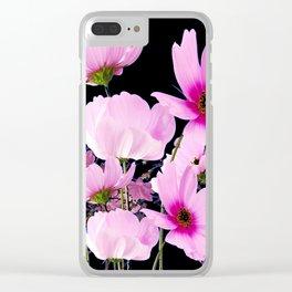 DELICATE PINK-FUCHSIA COSMO BLACK ART Clear iPhone Case