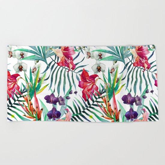 Tropical Watercolor Floral Beach Towel