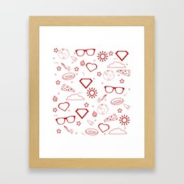 Supergirl/Kara's pattern - red Framed Art Print