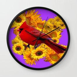 RED CARDINAL & YELLOW SUNFLOWERS PANTENE PURPLE Wall Clock