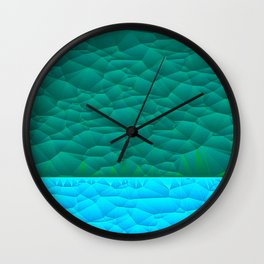 Quilted Sky Blue and Green Two Toned Pattern Wall Clock