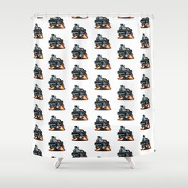 Classic Sixties American Muscle Car Popping a Wheelie Cartoon Illustration Shower Curtain