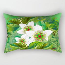 Passion Flowers on Tropical Jungle Rectangular Pillow