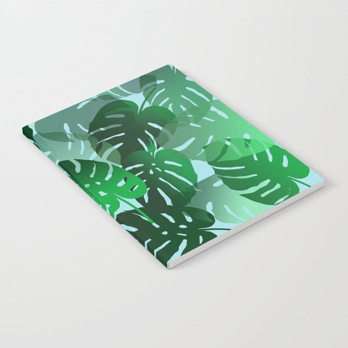 Green Big Monstera Leaves - blue Notebook