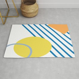 Abstract Summer Print with Shapes and Stripes Rug