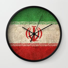 Old and Worn Distressed Vintage Flag of Iran Wall Clock