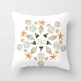 Florida Beachcombing Mandala 1 - Watercolor Throw Pillow