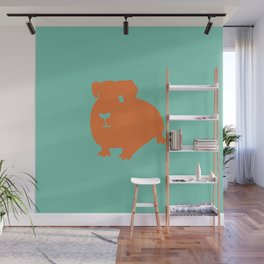 Guinea Pig in Orange on Electric Cyan Blue Green Wall Mural