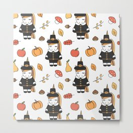 cartoon thanksgiving pattern with pilgrim unicorns, pumpkins, apples, pears, leaves and acorns Metal Print