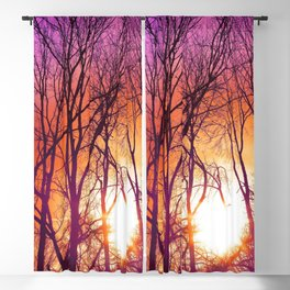 Beautiful Dusk Over Stark Woodland Violet Tint Purple Shade Blackout Curtain