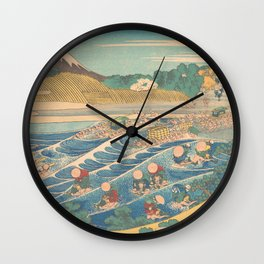 Fuji Seen from Kanaya on the Tōkaidō, Series Thirty-six Views of Mount Fuji by Katsushika Hokusai Wall Clock