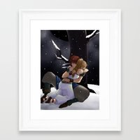 chrono trigger Framed Art Prints featuring Chrono and Marle by Fyrielle