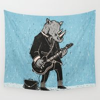 rhino Wall Tapestries featuring Rhino by Ronan Lynam