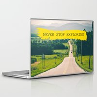 never stop exploring Laptop & iPad Skins featuring Never stop exploring by Ale Ibanez